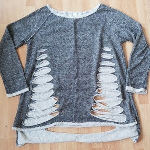 Womens ripped detail grey long sleeve top